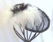 Black White Fascinator, Tea Party Fascinator, Handmade Hat, Kentucky Derby Hat, Feather Fascinator