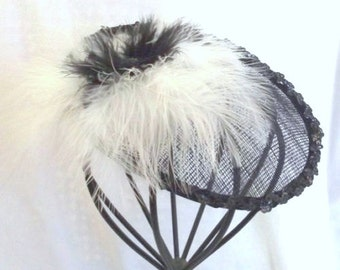 Black White Fascinator -  Tea Party Fascinator - Handmade Hat - Kentucky Derby Hat