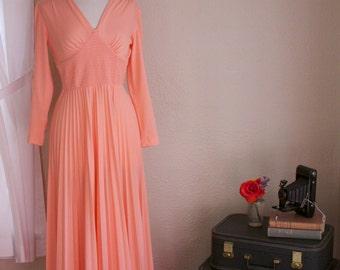 Vintage Salmon Pink Long Sleeve Dress 1970's