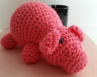 PIG, MADE to ORDER Crochet toy stuffed farm animal - toddler, baby, child, girls, boys, safety eyes, yarn, play, fun, birthday