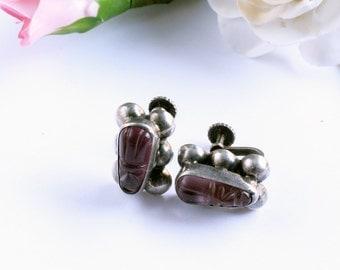 marked SILVER Vintage Earring Screw Purple Glass Tribal Face Southwestern
