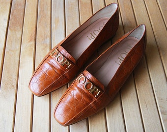 Cognac brown leather slip on JOOP! signature shoes 7