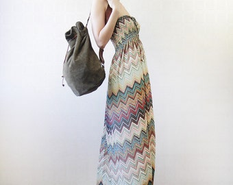 Chevron striped strapless floor length column maxi dress
