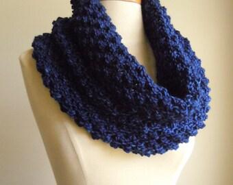 Merino wool high cowl - Blue