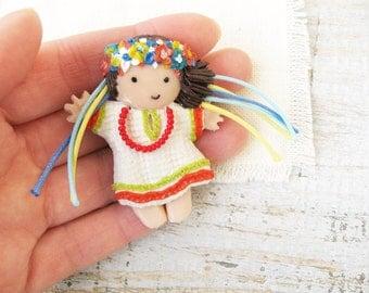 Doll Brooch Little Ukrainian Girl Ukrainian gift