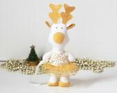Christmas Reindeer Decoration Golden Christmas Reindeer Ornament Xmas Gold Deer with gold skirt tutu - Gold white Christmas reindeer doll