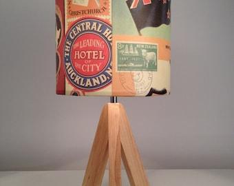 Kiwi, 'Kia-Ora' lampshade, vintage New Zealand tourism kitsch, up-cycled charm