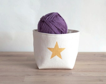 Golden star box - canvas box and cotton lining - canvas bin - small storage, craft supplies storage, toy storage, storage bin, fabric bin