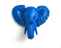 ELECTRIC BLUE Small Faux Taxidermy Elephant Head Wall Hanging wall mount home decor nursery office: Eunice in electric blue
