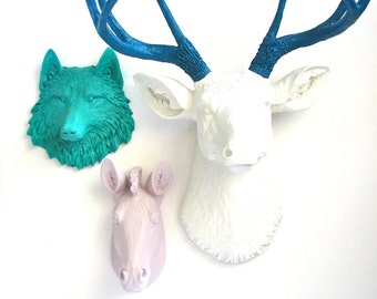 ANY color Set 1 Lrg. Deer Head + 2 small animal heads collection Choose from sm. wolf bear tiger zebra lion OR elephant & 1 Large Deer Head