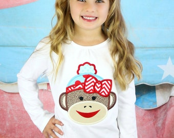 Sock Monkey shirt and bow- Sock monkey shirt- Girl sock monkey