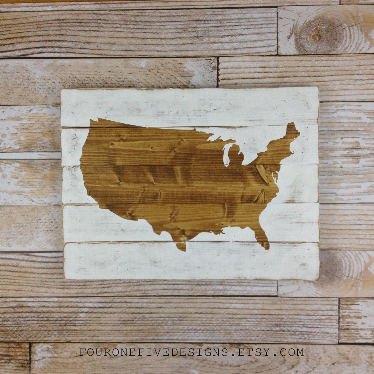 Art On Wood Planks ~ United states map wood plank sign home decor rustic art