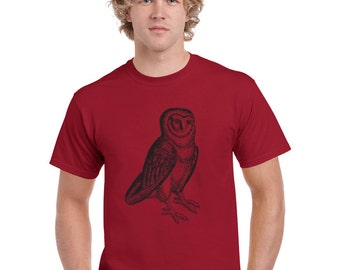 Owl tshirt. Owl shirt. Hipster shirt. Men. Red