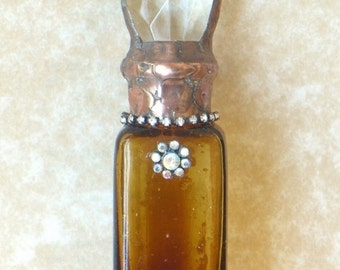 Antique, Amber Bottle, Soldered Bottle, Crystal,  Rhinestones, Handmade, One of a Kind