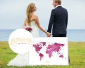 Wedding Guest Book Watercolor  World Map - Custom Color - Add Quote, Date - Wedding Decor - Personalized Guest Book Map - Mauve Color