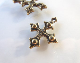 Ornate Gothic CROSS charm 100% Bronze--23mm x 18mm-- charm bracelets pendant rustic boho chic Made in the USA
