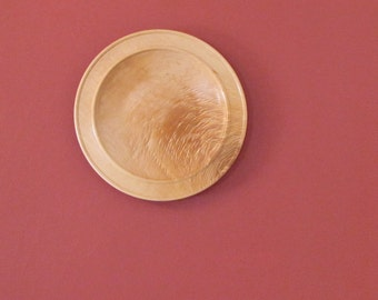 Figured maple wood platter, wall hanging, serving tray, wood turned plate