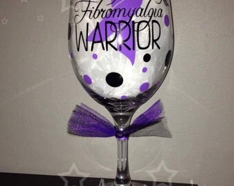 Fibromyalgia Warrior Personalized Wine Glass