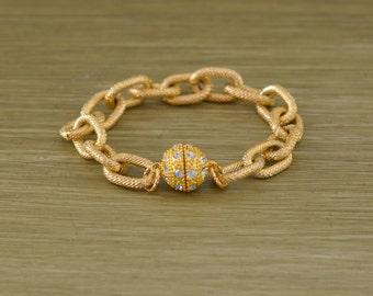 Gold Pave Chain Link Bracelet - Gold Rhinestone Bead Bracelet - Chunky Gold Chain Bracelet - Magnet Magnetic Bracelet - Bead Charm Bracelet