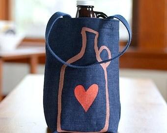 Growler Bag, Screen Printed Denim Tote, Beer Love, Beer Gift for Him, Beer Bag