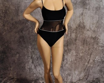 Vintage Anne Cole Collection Swimsuit One Piece Tank Mesh Midriff Black White Trim Size 8