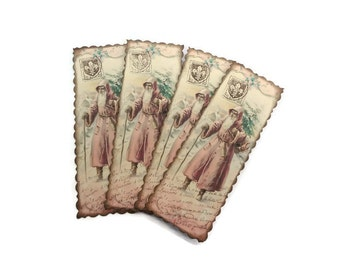 Shabby Pink Christmas Bookmarks, French Santa Bookmark Set, Cottage Chic, Holiday Party Favors, Carte Postale, Vintage Style, Set of 4