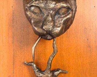 Bronze Cat and Mouse Door Knocker