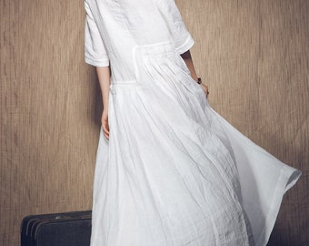 White Dress - Wedding Maxi Linen Dress (in Stock) Xxl,xxxl Maxi Dress / White Kaftan / Extravagant Long Dress / Party Dress C1003