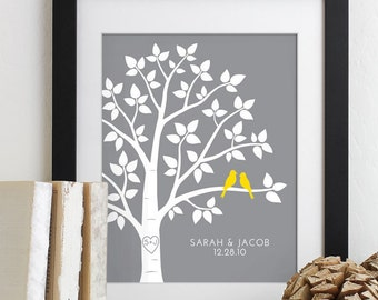 Wedding Gift for Wedding Anniversary Gift Family Tree Personalized Custom Wedding Tree Love Birds Print