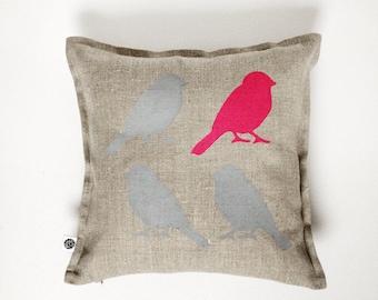 Bird pillow with pink bird - grey birds cushion cover -  fuchsia pink spring bird  throw pillow - home decor - gray linen pillow case 0140