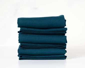 Teal blue linen napkin set  18x18 inch size - cloth linen napkins for table - linen napkins for table decor  0236