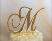 gold mirror custom  monogram cake topper for weddings, birthdays, anniversaries, vow renewal