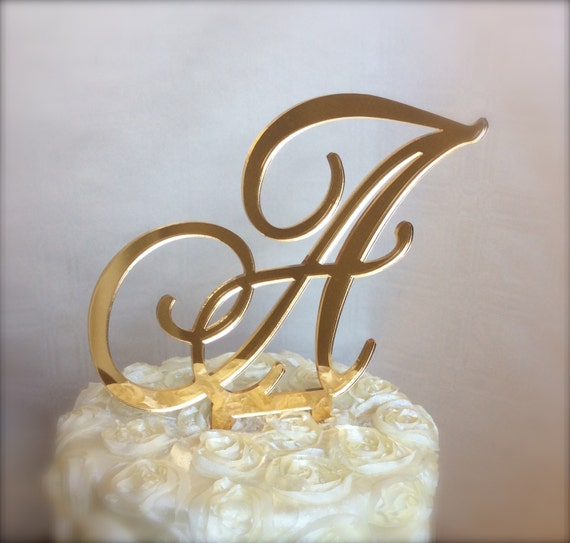gold cake toppers items similar to gold mirror custom monogram cake topper 4525