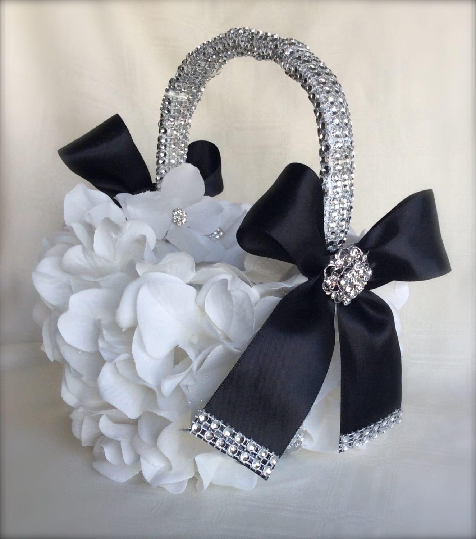 Flower Girl Baskets Black : Black and white flower girl basket bling