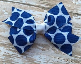 Cute blue polka dot hair bow