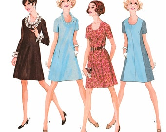 "1968 A-Line Dress, U Neckline, Short or Long Sleeves, Panel Seams, Use for Color Block, Trim Option McCall's 9503 sz 12 1/2, Bust: 35"" Uncut"