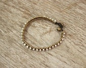 Anklet Handmade Pearls Brass Beads Thailand Fair Trade Jewelry  (AK034B-PL)
