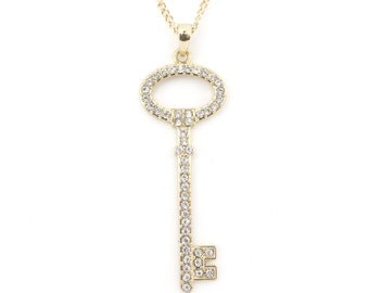 Simple Shiny Gold tone Crystal Decorated Key Pendant Necklace,A11