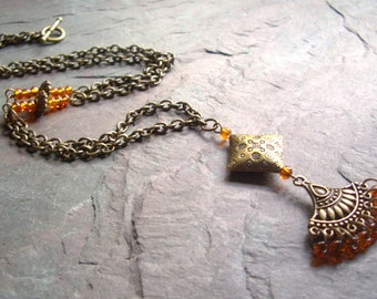 "Antique Brass Necklace / One-of-a-Kind / Orange / Seed Beads/ Charm / Pendant / Connector / Toggle / Chain / Drop - 30 1/2"" long - N23"