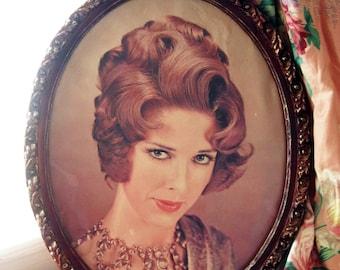 Vintage 60s Retro Hairstyle Photo Hollywood Regency Frame -Vintage Hair Salon Décor - Framed Glam Photo - Beauty Parlor Art - Hair Salon Art