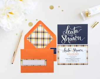 Plaid Hand Lettered Save the Date Navy Orange Yellow Plaid Wedding Hand Lettering Calligraphy Rustic Save the Date Modern Save the Date