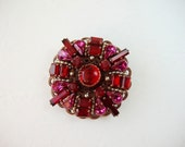 Art Deco Jewelry. Red Brooch w Vintage Rhinestones. Art Deco Brooch. Red Assemblage Jewelry. Rhinestone Brooch. Romantic Gift Her