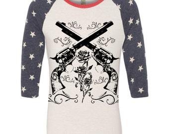 Womens WESTERN Southwest Star Vintage Pistols Revolvers Rose Boho Raglan Alternative Apparel Raglan Long Sleeve Baseball TShirt s m l xl Tee