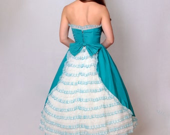 50s Ruffled Fit and Flare Party Dress • 1950s Formal Teal and White Sleeveless Prom Dress • Full Skirt • Small