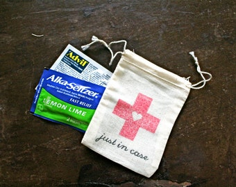 """Wedding favor bags, Just in Case. Small DIY favor kits for wedding guests. Red cross. Drawstring muslin bags 2.5"""" x 4"""". Welcome bags."""