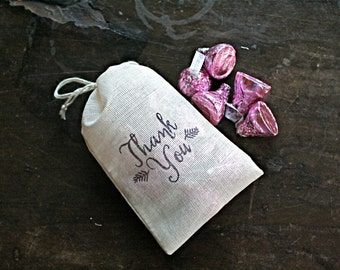 Wedding favor bags, set of 50 drawstring cotton bags, script Thank You design, bridal shower, party favor bags, hand stamped cloth bags