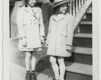Old Photo 2 Girls wearing Coats and Hats 1930s Photograph vintage
