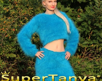 Made to order thick fuzzy hand knitted mohair sweater and skirt, fuzzy handmade set in light blue by SuperTanya