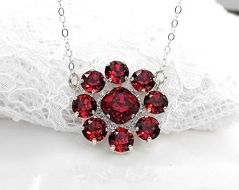 Red Ruby Wedding Necklace Red Wedding Ruby Wedding Ruby Bridesmaids Red Bridesmaids Ruby Swarovski Crystal Sterling Silver Bridal Pendant