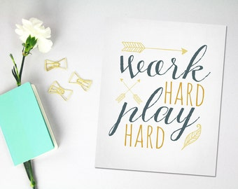 Work Hard Play Hard Inspirational Typography Print, Dorm Decor, Office Decor, Wall Art, Motivational Print, Autumn Mustard and Blue, Boho